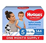 Huggies Ultra Dry Nappies, Boys, Size 5 Walker (13-18kg), 144 Count, One Month