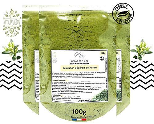 Coloration capillaire en poudre végétale Katam du Yémen 100g Cosm'Ethics® rend les cheveux doux, souples et brillants sachet refermable pour une conservation optimale
