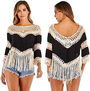Baugger Fashion Blouse,Fashion Women Splicing Blouse Hollow Out Tassels O Neck Three Quarter Sleeve Casual Pareo Beach Smock Top
