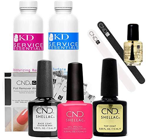 CND SHELLAC Starter Kit - Top, Base, Essentials + Color - Pink Bikini, 500 ml