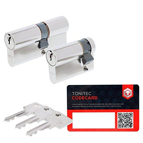 ABUS Schließzylinder Profilzylinder C73 N+G GS gleichschließend Lagerschließung inkl. 3 Schlüssel inkl. ToniTec CodeCard Größe 30/30mm