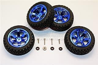 GPM Axial Yeti Jr. Score Trophy Truck (AX90052) / Yeti Jr. Can-Am Maverick (AXI90069) Upgrade Parts 6 Poles Wheels Tire Set - 4Pcs Set Blue