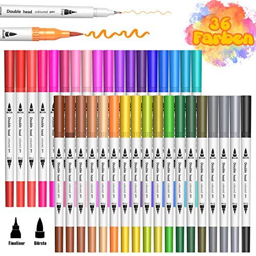 36 Farbe Filzstifte für Bullet Journal Zubehör, BOIROS Filzstifte Marker Malerei Graffiti Briefpapier Set für Erwachsene Studenten Malbücher Craft Doodling
