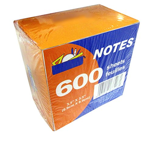 600 Sheet Paper Note Cube Pack (3.5' x 3.5') - White Paper - NON STICKY! in Dispenser Pack.