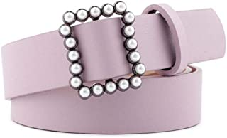 Ivyday PU Leather Women's Belt Waist Belt with Imitation Pearls Alloy Buckle for Jeans