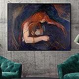 HHLSS Pintura de Arte 40x60cm Cuadro de Pared sin Marco Giclee Edvard Munch Llorando Famoso réplica Abstracta Cartel de Pared clásico Cuadros Decoración del hogar