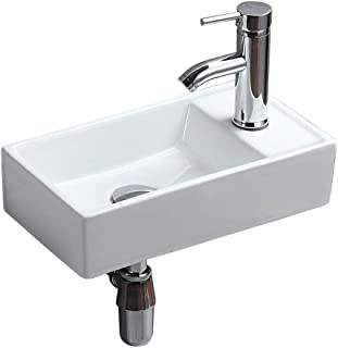 Bathroom Wall Mount Basin Sink Vessel Vanity Rectangular White Ceramic for Lavatory Toilet Kitchen Cloakroom Corner Countertop Art Washbasin without Overflow Hole (1047)