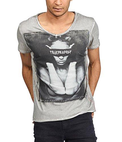trueprodigy Casual Hombre Marca Camiseta Estampado Ropa Retro Vintage Rock Vestir Moda Cuello V Manga Corta Slim fit Designer Cool Urban Fashion t-Shirt Color Gris 1053130-5203-L