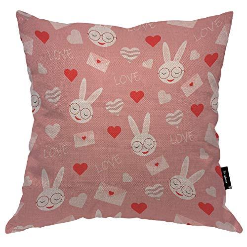 Seemuch Funda de cojín con diseño de conejo rosa con forma de corazón de conejo en gafas, funda de cojín cálida de algodón y lino para el hogar, oficina, sofá, silla, dormitorio, 45,7 x 45,7 cm