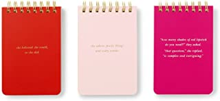 Kate Spade New York Spiral Notepad Set of 3, Blush, Red, Pink, She Statements