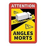 Hinweisschild 'Angles Morts' für Frankreich | als Aufkleber oder magnetisch | mit LKW oder Bus-Motiv | 250 x 170 mm | Warnung vor Totem Winkel (LKW-Motiv, magnetisch)