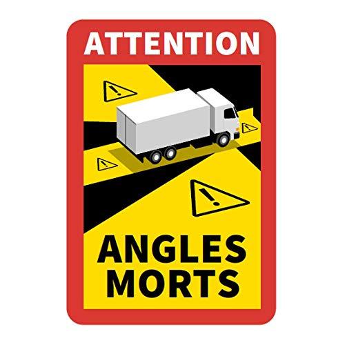 Hinweisschild 'Angles Morts' für Frankreich | als Aufkleber oder magnetisch | mit LKW oder Bus-Motiv | 250 x 170 mm | Warnung vor Totem Winkel (LKW-Motiv, Aufkleber)