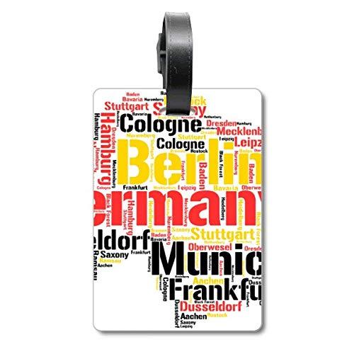 Etiqueta de identificación para Maleta con ilustración de Mapa de Alemania, Nombre de la Ciudad