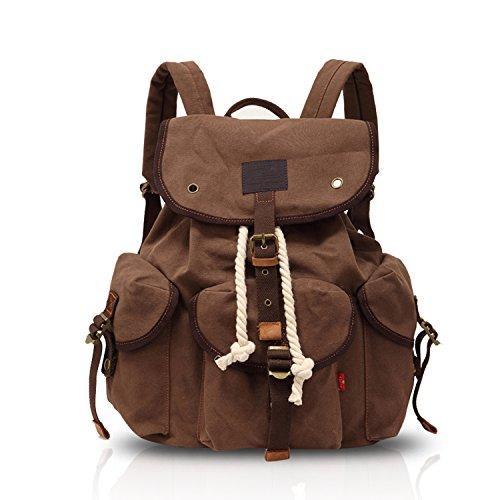 FANDARE Weinlese im Freien Reisen Wandern Rucksäcke Schulrucksack Backpack für Campus und Outdoor Daypacks Laptop Umhängetasche wasserdichte Freizeit Langlebiger Segeltuch Kaffee