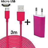 TheSmartGuard - Set 2 en 1 con Cargador y Cable de Carga para Microsoft Lumia 535 (3 m, Cable de Datos y Cable de Carga con Velocidad de Carga Mejorada), Color Rosa