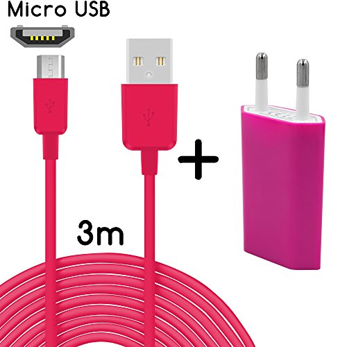 TheSmartGuard Original 2-in-1 set met HTC Desire 626G voeding oplader en HTC Desire 626G oplaadkabel (3 meter/3 m)/datakabel/kabel in roze - nieuw met herziene laadsnelheid