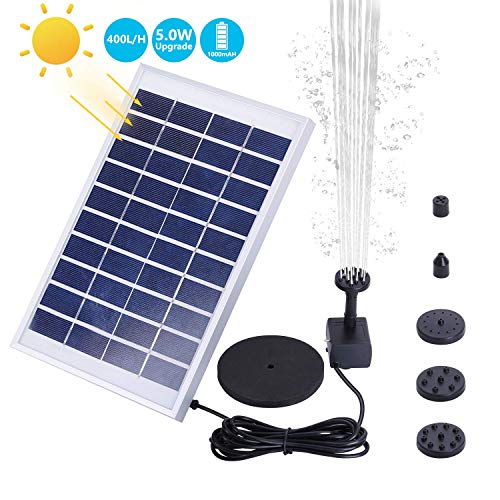 AISITIN 1000mAh 5.0W Solar Fountain Pump, Solar Water Pump Floating Fountain...