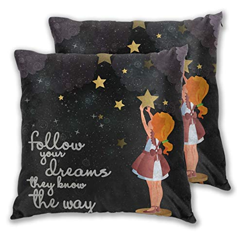 Weitaoying Follow Your Dreams They Know The Way Print Decorative Throw Pillow Cases Set of 2 Square Cushion Cover for Sofa, Couch, Bed and Car Home Decor Pillows Covers