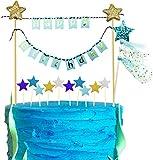 iZoeL Decoraciones para tartas azules, decoración para tartas de feliz cumpleaños, decoración de magdalenas con estrella dorada azul para niño o niña, cumpleaños, baby shower, fiesta (azul)