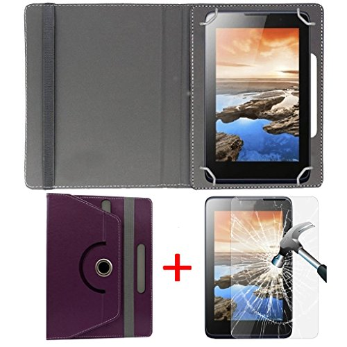 """Hello Zone Exclusive 360° Rotating 7"""" Inch Flip Case Cover + Free Tempered Glass for Karbonn Smart Tab 2 -Purple"""