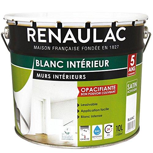 Renaulac Peinture intérieur Murs & Plafonds Bicouche Acrylique Blanc Satin 10L - 100m²