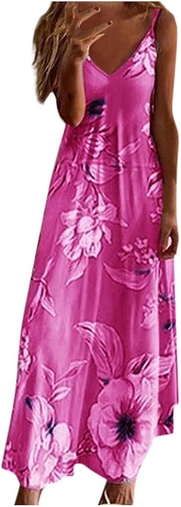 Sun Dresses Women Casual Summer,Women's Summer Casual Loose Long Dress Beach Sleeveless Sexy Strap Maxi Dresses