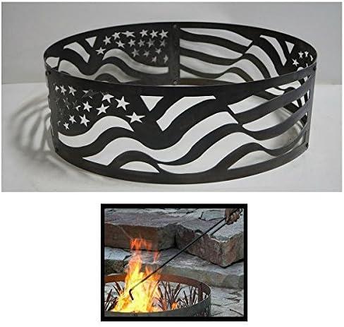 PD Metals Steel Sale SALE% OFF Campfire Fire Very popular! Flag Unpainte Ring American Design