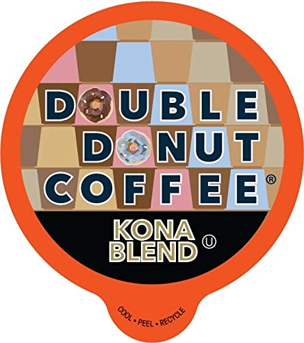 Double Donut Gourmet Coffee, Kona Blend, in Recyclable Single Serve Cups for all Keurig K-Cup Brewers, 24 Count