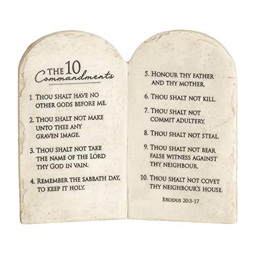 Dicksons 10 Commandments Whitewash Stone Tablet 6 x 6.5 Resin Decorative Wall and Tabletop Sign Plaque