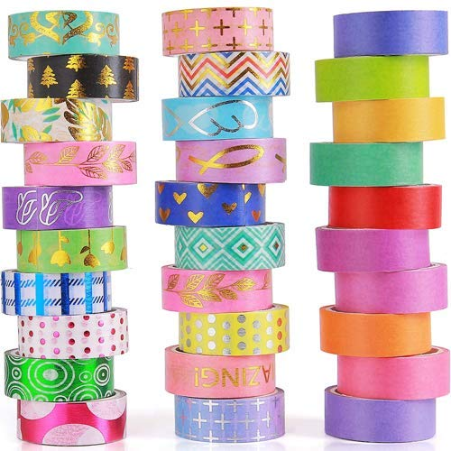 30 Rolls Washi Tape Set 15mm Include 20 Gold Foil Masking Tapes10 Rolls Colorful Rainbow Tapes for ScrapbookingBullet JournalsDIY Art Craft and Gift Wrapping
