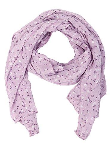 Zwillingsherz - Foulard di seta da donna con motivo floreale, made in Italy, elegante sciarpa estiva per donne, di alta qualità, stola in chiffon con motivo elegante Lilla Taglia unica