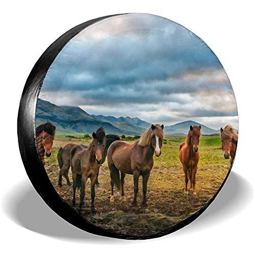 XZfly Paarden Op Groene Gras IJsland Spare Tire Covers, Universele Wiel Tire Protectors, Reizen Auto Weerbestendige Accessoires