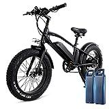 H&G 20x4.0'' Bicicleta Eléctrica, 48V 10Ah Neumático Gordo Ciclismo de Playa Bicicleta con 2 x batería extraíble Tres Modos de Trabajo Fitness City Conmutación Urbana