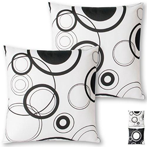 Kissenhülle Kissenbezug Zierkissen Malisa 2er Pack Auswahl: 50x50cm Kissenhülle Weiß mit schwarzen Kreisen
