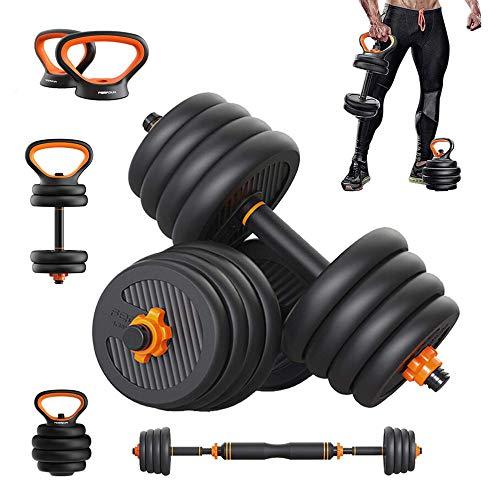 LI-SCARF Juego de mancuernas ajustables 6 en 1, pesas libres, mancuernas de ejercicio con mango de pesas rusas para hombres y mujeres, todo el cuerpo, gimnasio en casa, 2 pares, 40 kg