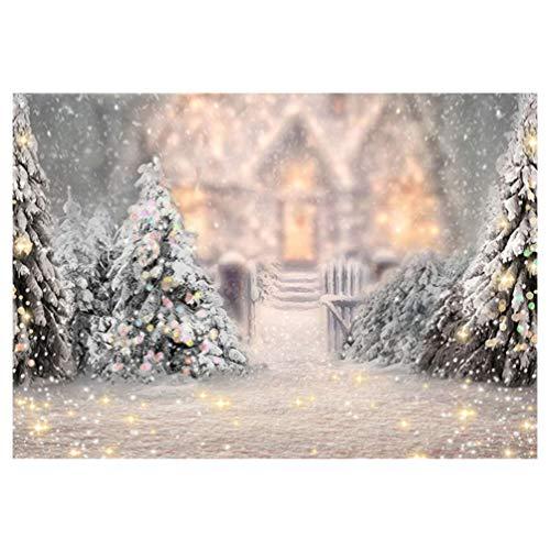 TOYANDONA Navidad Pared Colgante Tapiz Vinilo Invierno Flocado Casa del Árbol de Navidad Fondo de Fotografía Telón de Fondo Prop para Navidad Dormitorio Año Nuevo Fotografía Decoración 150