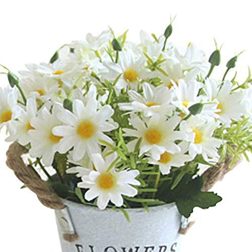 LACKINGONE Ramo de 40 Flores Artificiales de Margaritas para decoración del hogar, Bodas, Fiestas, 2 Colores