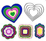 Crafting Dies - Fustelle Metalliche Scrapbooking Fustella Forme Geometriche Fustella Cuore, Fustella Cornice, Fustella Fiore Senza Impunture Thinlits (4 Pezzi)
