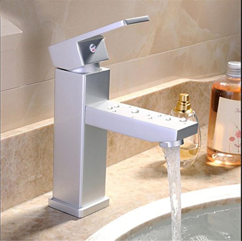 ETERNAL QUALITY Badezimmer Waschbecken Wasserhahn Messing Hahn Waschraum Mischer Mischbatterie Tippen Sie auf Moderne abgesenkt Becken Platz Aluminium einzelne Bohrung Be
