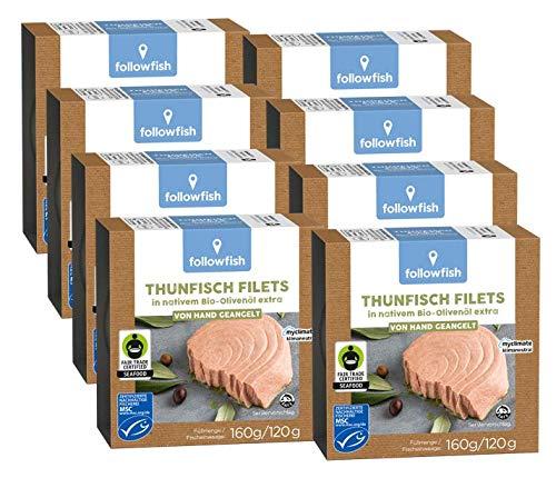 Followfish MSC Fair Trade Thunfisch Filets in BioOlivenöl, 160g (8er Pack)