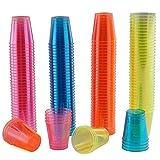 150 Hartplastik Schnapsgläser, Buntes Neon 3cl (30ml) - Einweg oder Wiederverwendbare Shotgläser...
