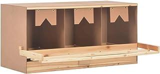 vidaXL Lite drewno sosnowe, gniazdo dla kur, 3 przegródki, na duże kury, legenster, gniazdo do rozwijania się, gniazdo do ...