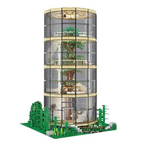WEERUN Architektur Baukasten Bausatz, 3495 Stück Kreative Baumhaus Wald Villa mit LED Beleuchtung Klemmbausteine Architektur Haus Modular Bausteine Haus, kompatibel mit Lego