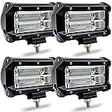 KATUR 5Inch 72W LED Light Bar Spot Beam 10800LLM Offroad Fog Lights LED Driving Work Lamp for T ruck Pick up Jep Suv Atv Utv 12V 24V Car Daytime Running Driving Lights Waterproof