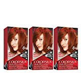 Revlon Colorsilk Beautiful Color Permanent Hair Color with 3D Gel Technology & Keratin, 100% Gray Coverage Hair Dye, 42 Medium Auburn, 4.4 oz (Pack of 3)