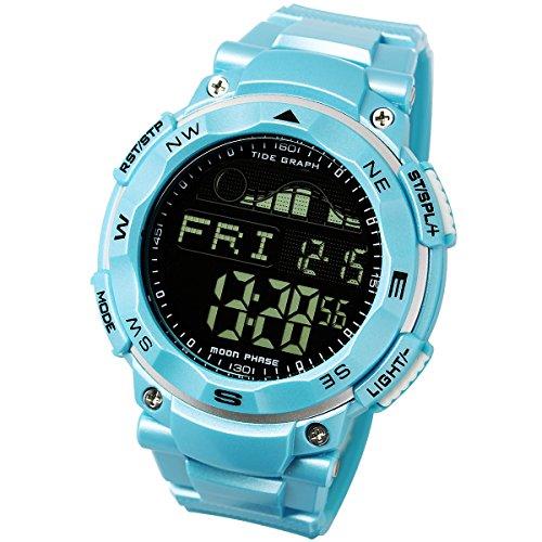 [ラドウェザー]ダイバーズ腕時計 タイドグラフ 100m防水 デジタル時計 (スカイブルー(反転液晶))