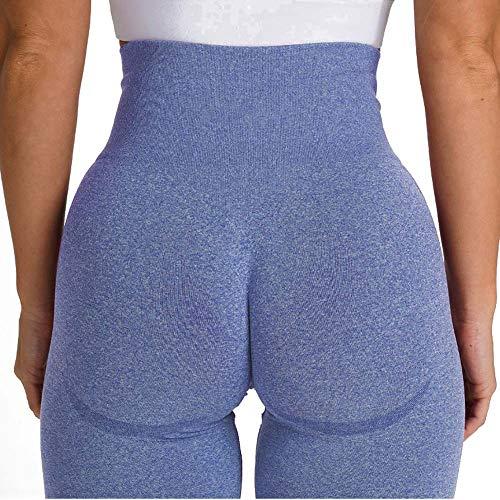 JYMEI Mujeres sin Fisuras Gimnasio Leggings de Cintura Alto Pantalones de Yoga de Cintura compresión Medias Deportivas para Correr Entrenamiento Fitness Shunch Bums Butt Push Up,Navy Blue,L