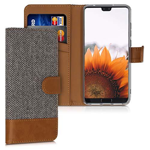 kwmobile Funda Compatible con Huawei P20 Pro - Carcasa de Tela y Cuero sintético Tarjetero Gris Claro/marrón