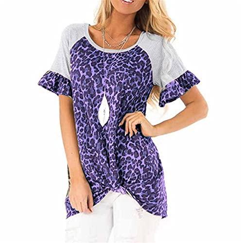 Camiseta con Estampado de Leopardo para Mujer Camiseta de Manga Corta con Cuello Redondo Camisa Informal básica Camiseta con túnica Informal para Mujer Top de Manga Corta para Mujer