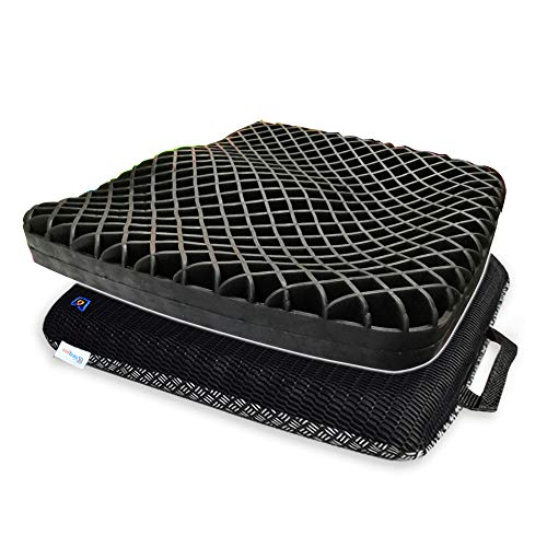 Bingyee Coccyx Seat Cushion 3D Ventilated Grid Cooling Double Gel Seat Cushion for Pressure Relief, Orthopedic Chair Pads for Office Chair, Car Seat Cushion, Wheelchair, Mobility Scooters or Home